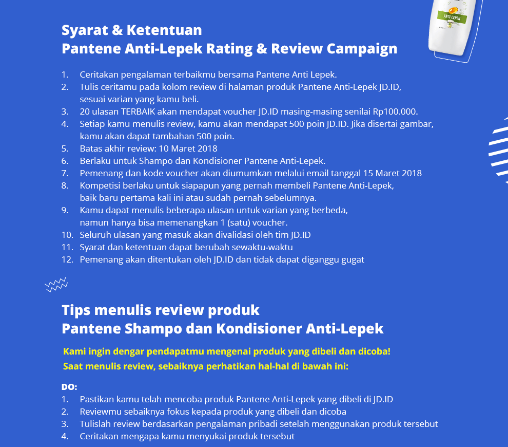 Promo Pantene Review Competition Sampo Total Damage Care 750ml Shampoo Anti Lepek